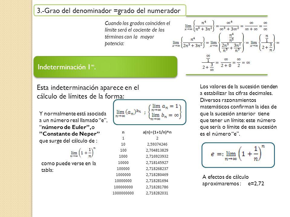 3.-Grao del denominador =grado del numerador