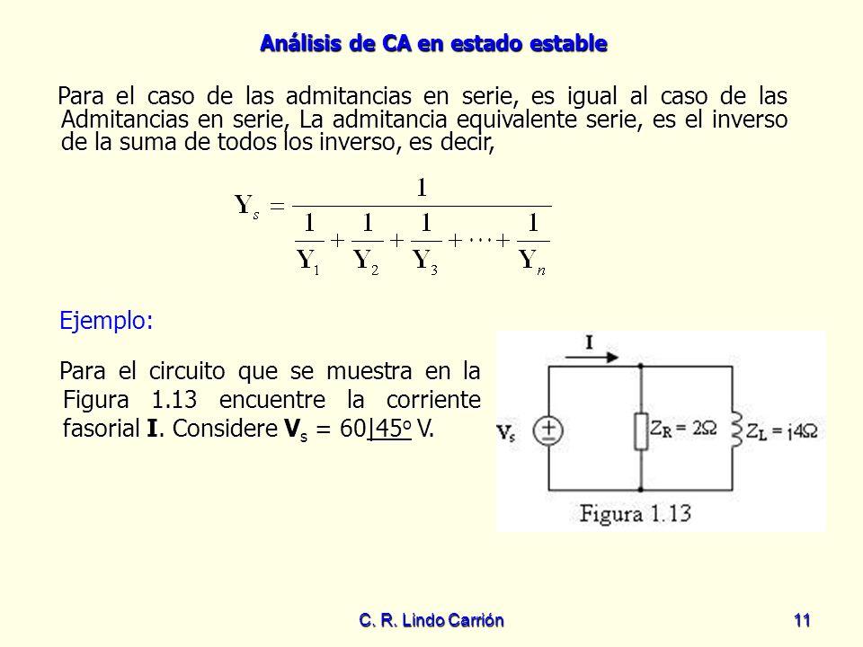 Para el caso de las admitancias en serie, es igual al caso de las Admitancias en serie, La admitancia equivalente serie, es el inverso de la suma de todos los inverso, es decir,
