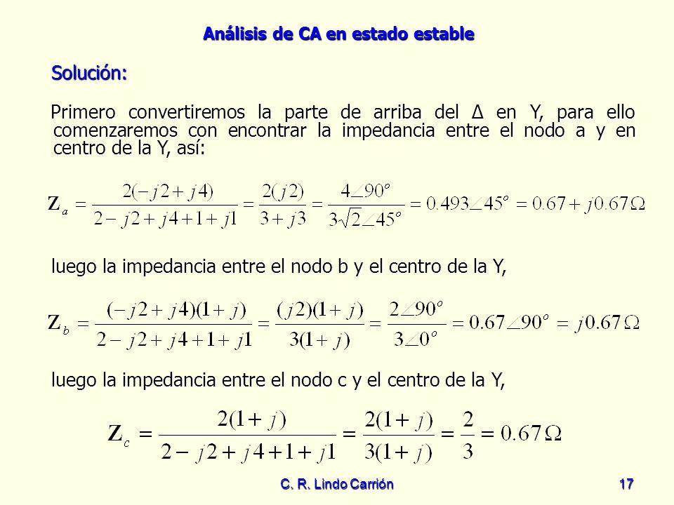 luego la impedancia entre el nodo b y el centro de la Y,