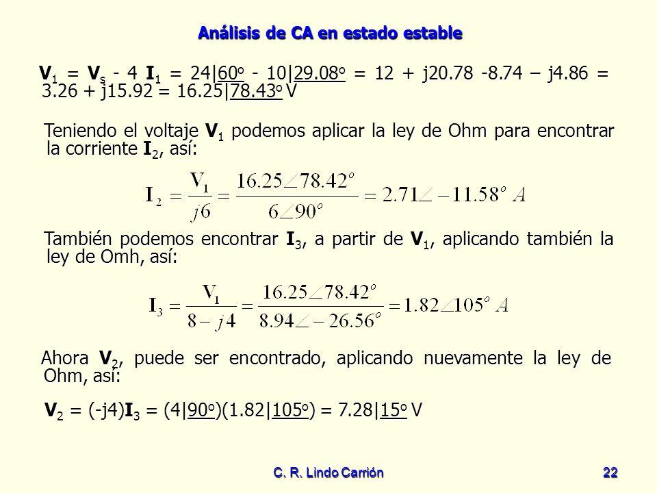 V2 = (-j4)I3 = (4|90o)(1.82|105o) = 7.28|15o V