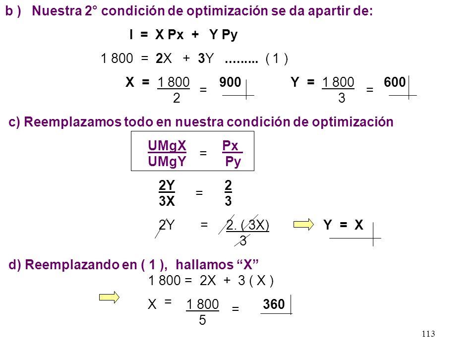 b ) Nuestra 2° condición de optimización se da apartir de: