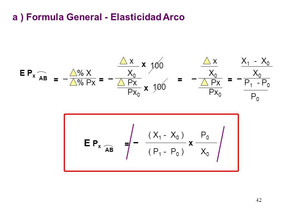a ) Formula General - Elasticidad Arco