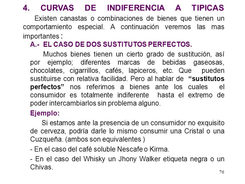 4. CURVAS DE INDIFERENCIA A TIPICAS Existen canastas o combinaciones de bienes que tienen un comportamiento especial. A continuación veremos las mas importantes :