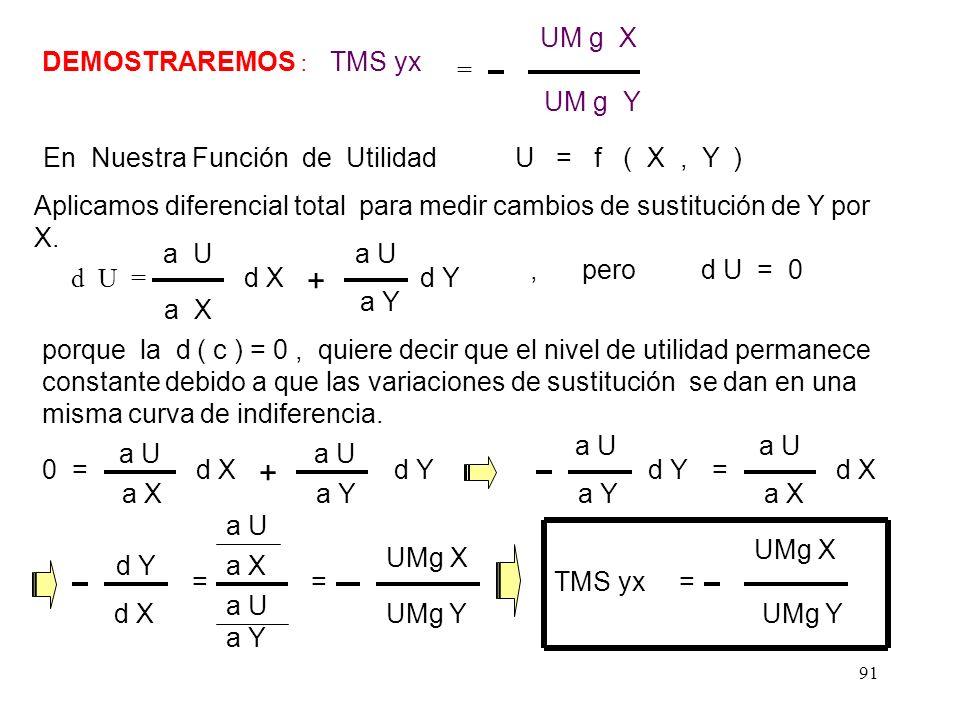 En Nuestra Función de Utilidad U = f ( X , Y )