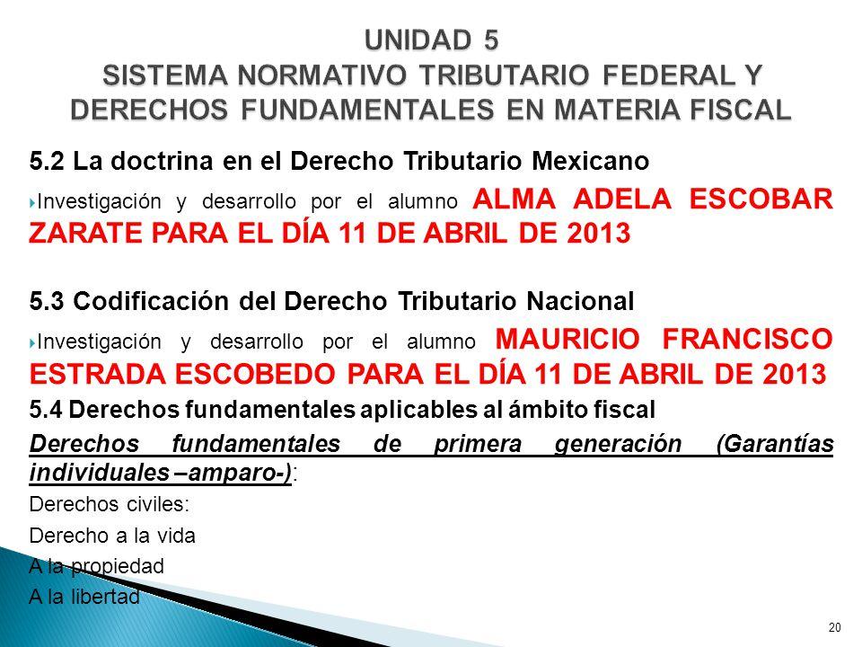 UNIDAD 5 SISTEMA NORMATIVO TRIBUTARIO FEDERAL Y DERECHOS FUNDAMENTALES EN MATERIA FISCAL