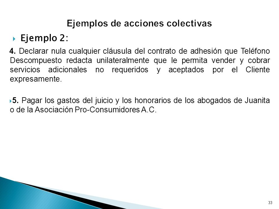 Ejemplos de acciones colectivas