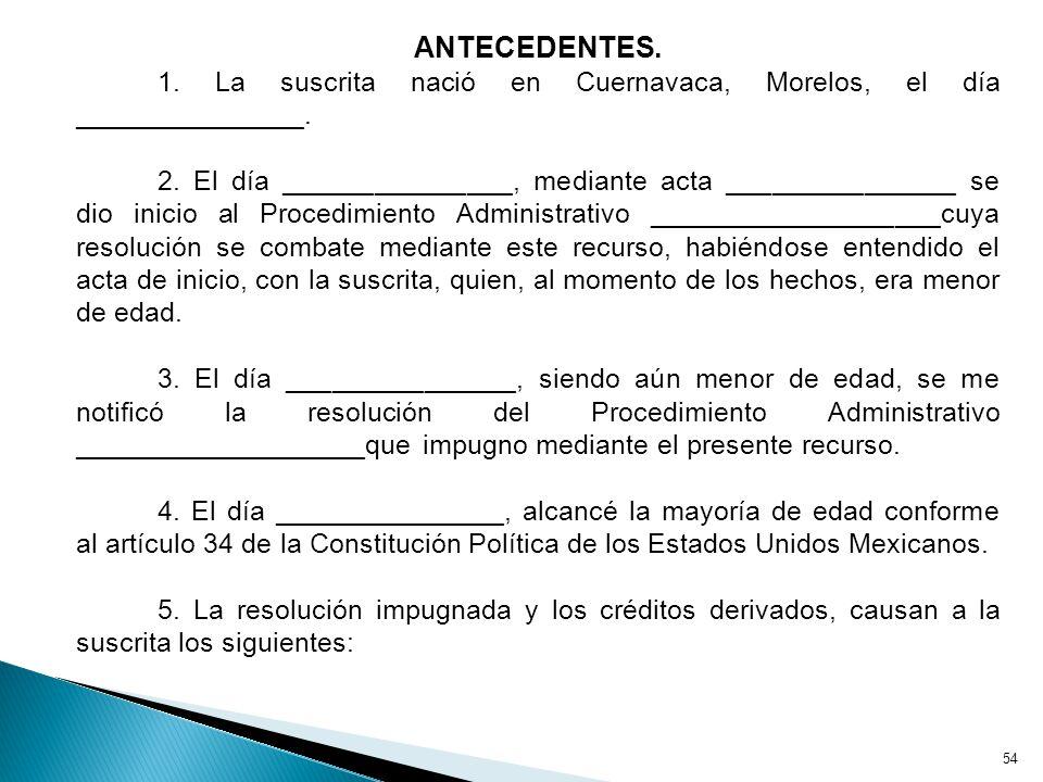 ANTECEDENTES. 1. La suscrita nació en Cuernavaca, Morelos, el día _______________.