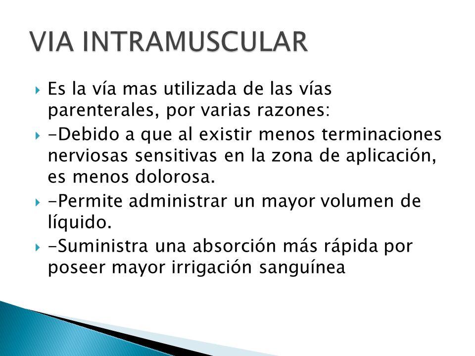 VIA INTRAMUSCULAR Es la vía mas utilizada de las vías parenterales, por varias razones: