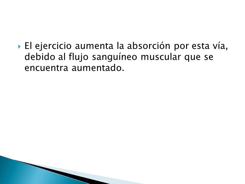 El ejercicio aumenta la absorción por esta vía, debido al flujo sanguíneo muscular que se encuentra aumentado.