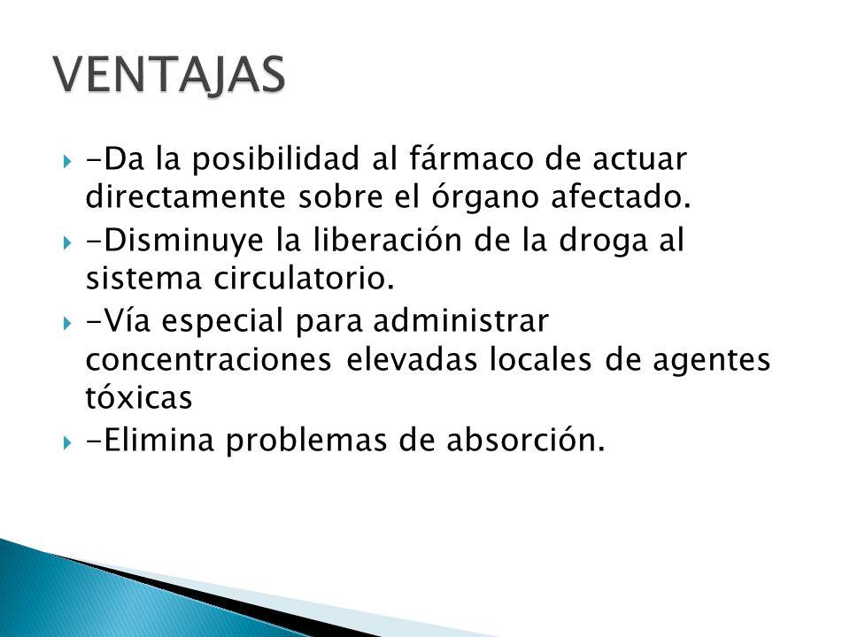 VENTAJAS -Da la posibilidad al fármaco de actuar directamente sobre el órgano afectado.