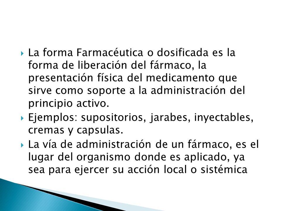 La forma Farmacéutica o dosificada es la forma de liberación del fármaco, la presentación física del medicamento que sirve como soporte a la administración del principio activo.