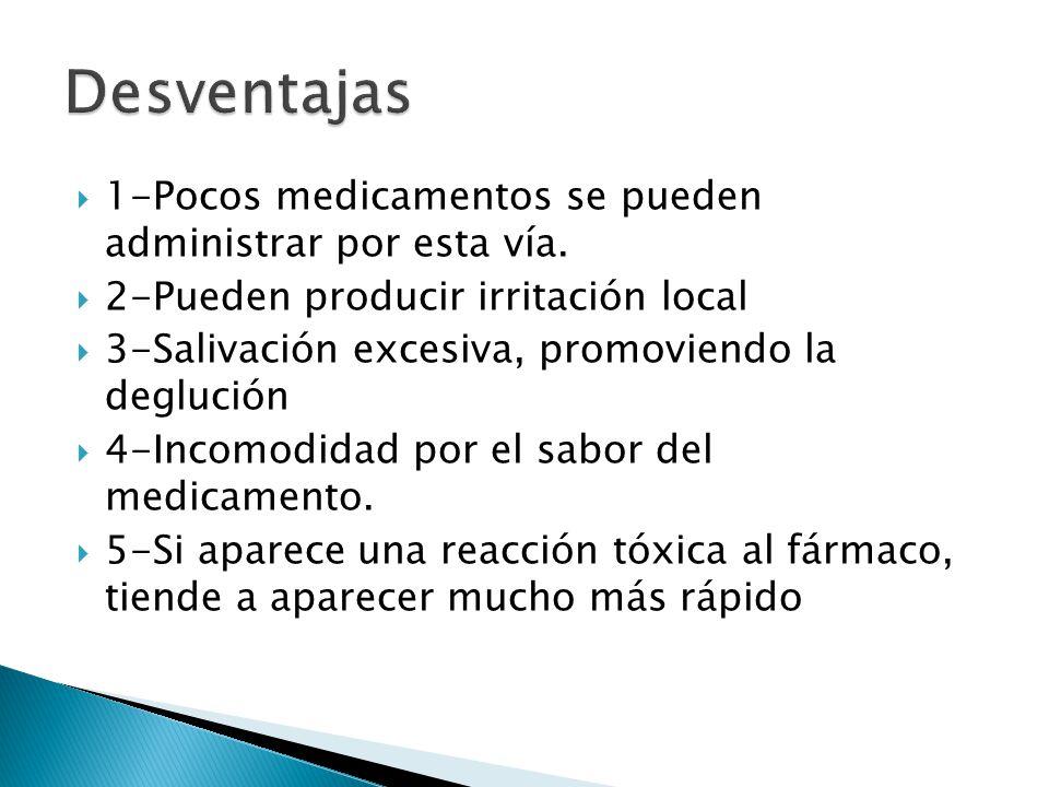 Desventajas 1-Pocos medicamentos se pueden administrar por esta vía.