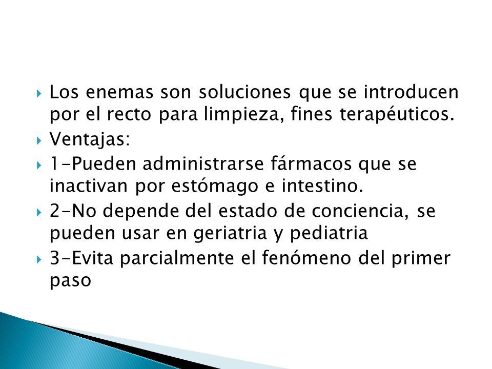 Los enemas son soluciones que se introducen por el recto para limpieza, fines terapéuticos.