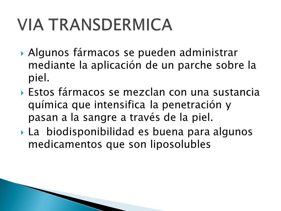 VIA TRANSDERMICA Algunos fármacos se pueden administrar mediante la aplicación de un parche sobre la piel.