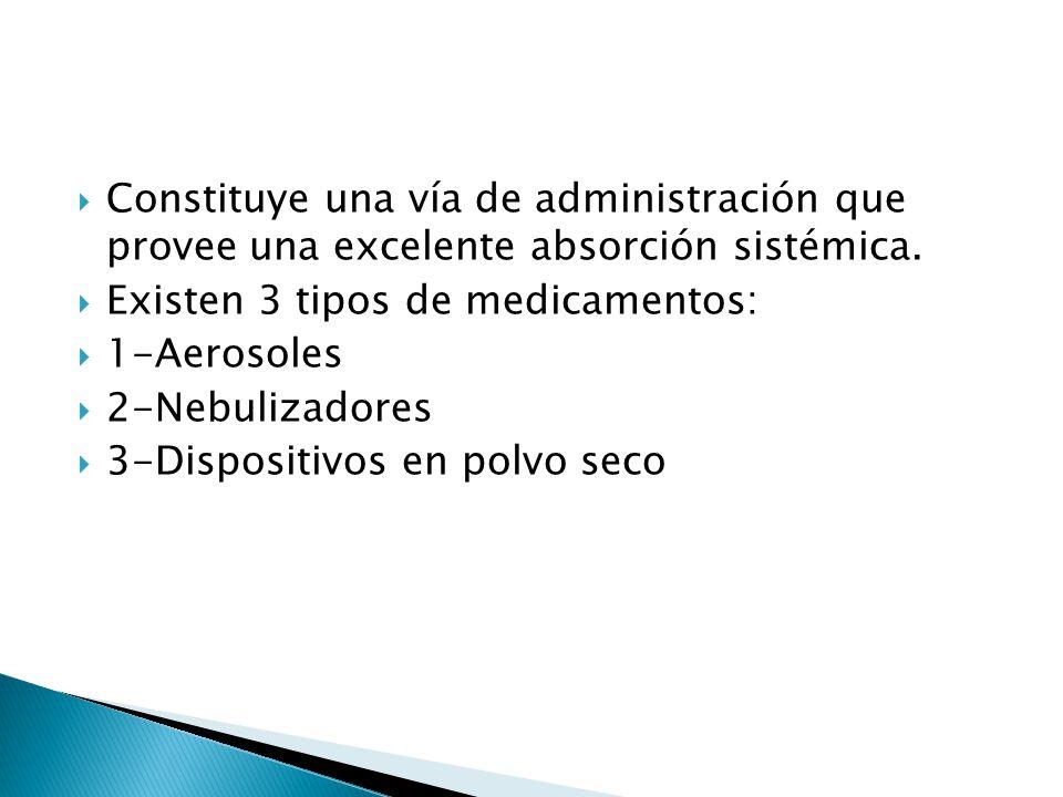 Constituye una vía de administración que provee una excelente absorción sistémica.
