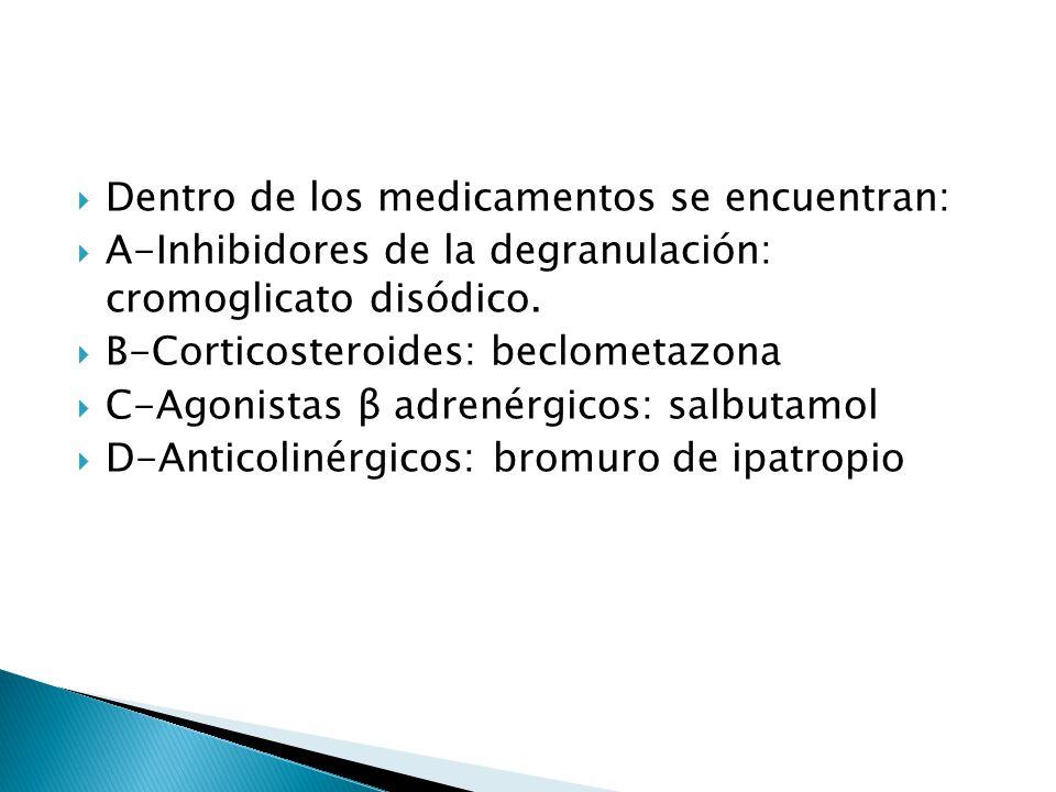 Dentro de los medicamentos se encuentran: