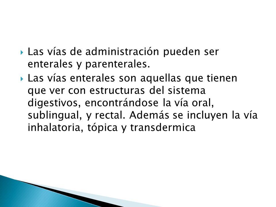 Las vías de administración pueden ser enterales y parenterales.