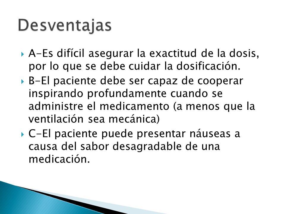 Desventajas A-Es difícil asegurar la exactitud de la dosis, por lo que se debe cuidar la dosificación.