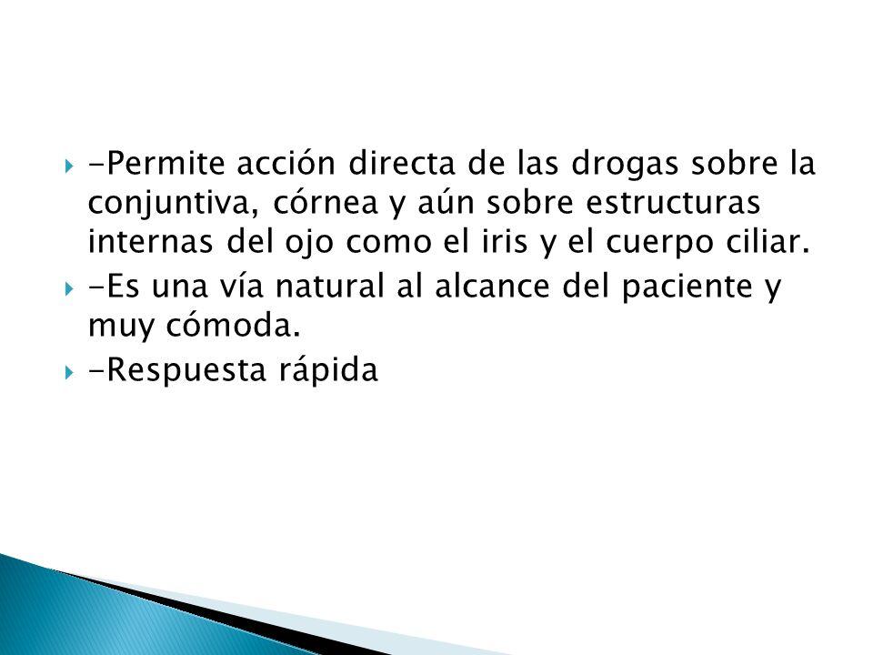 -Permite acción directa de las drogas sobre la conjuntiva, córnea y aún sobre estructuras internas del ojo como el iris y el cuerpo ciliar.