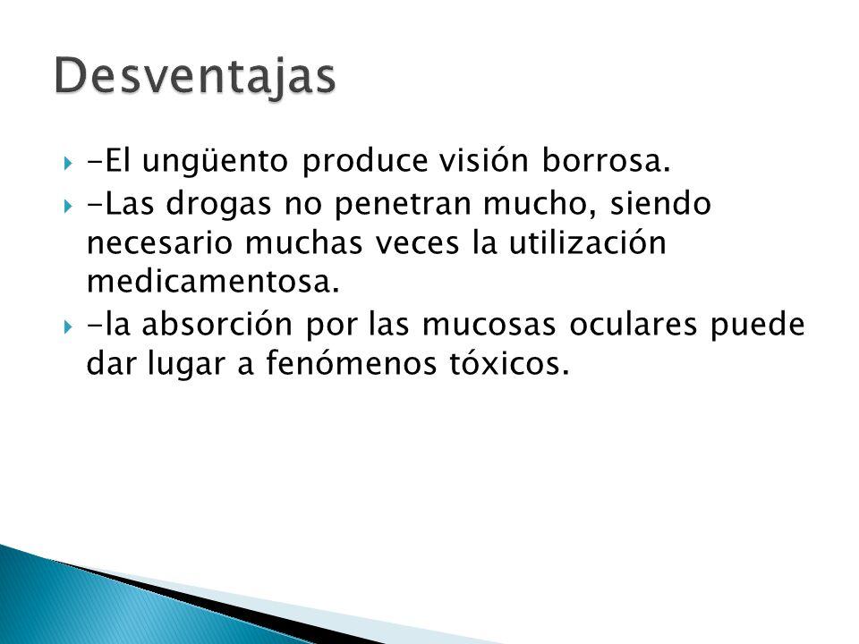 Desventajas -El ungüento produce visión borrosa.