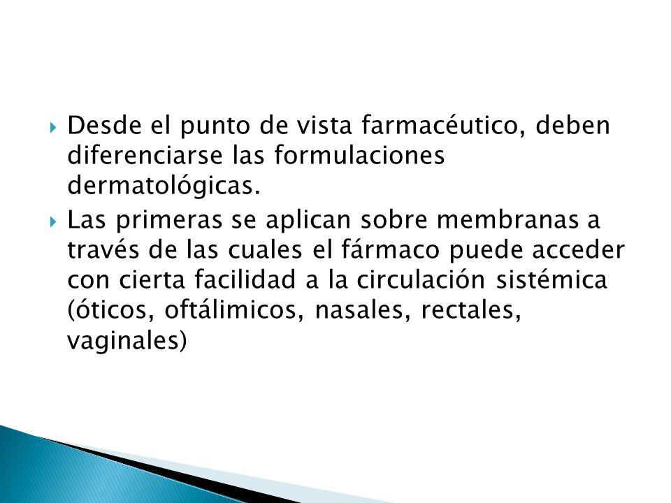 Desde el punto de vista farmacéutico, deben diferenciarse las formulaciones dermatológicas.