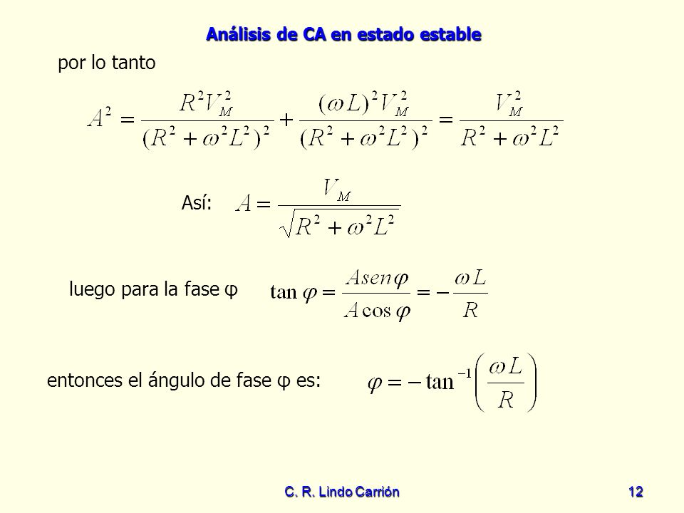 entonces el ángulo de fase φ es:
