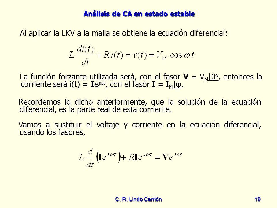 Al aplicar la LKV a la malla se obtiene la ecuación diferencial: