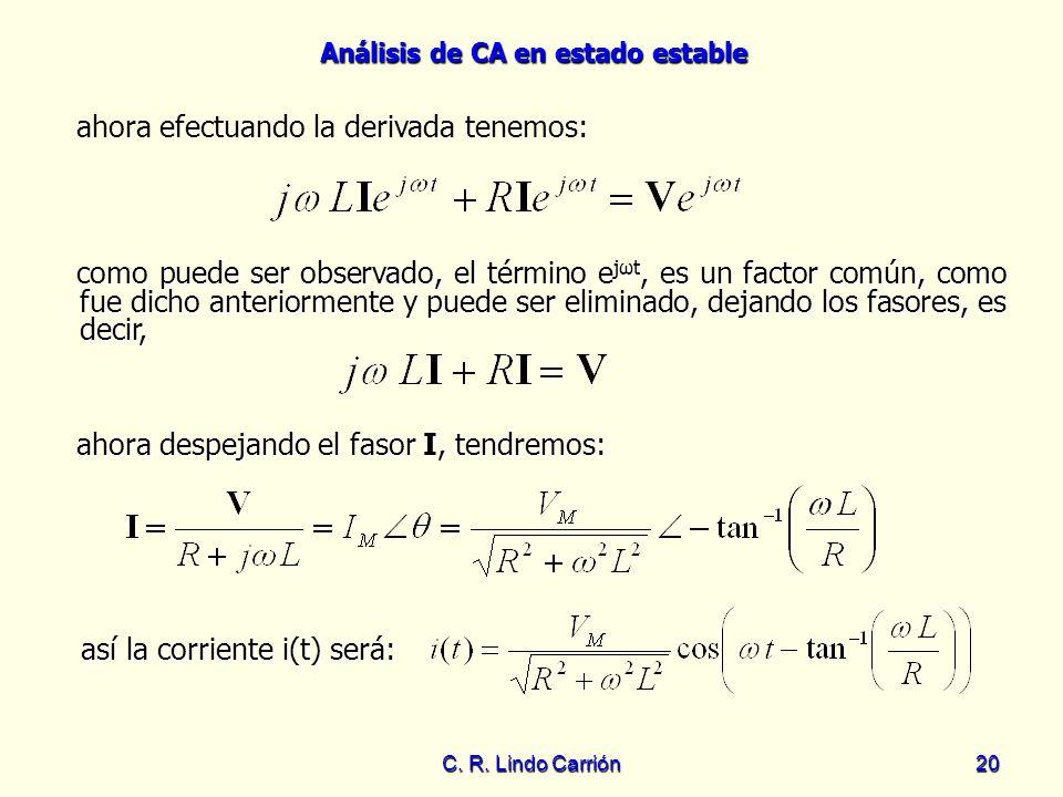 ahora efectuando la derivada tenemos: