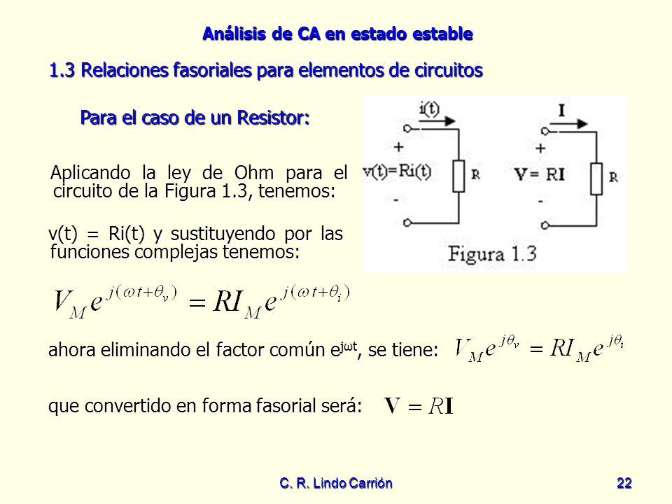 1.3 Relaciones fasoriales para elementos de circuitos