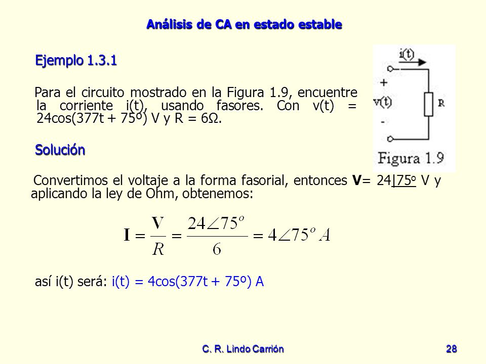así i(t) será: i(t) = 4cos(377t + 75º) A