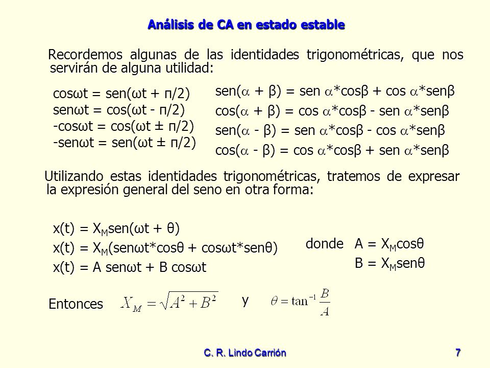 sen( + β) = sen *cosβ + cos *senβ