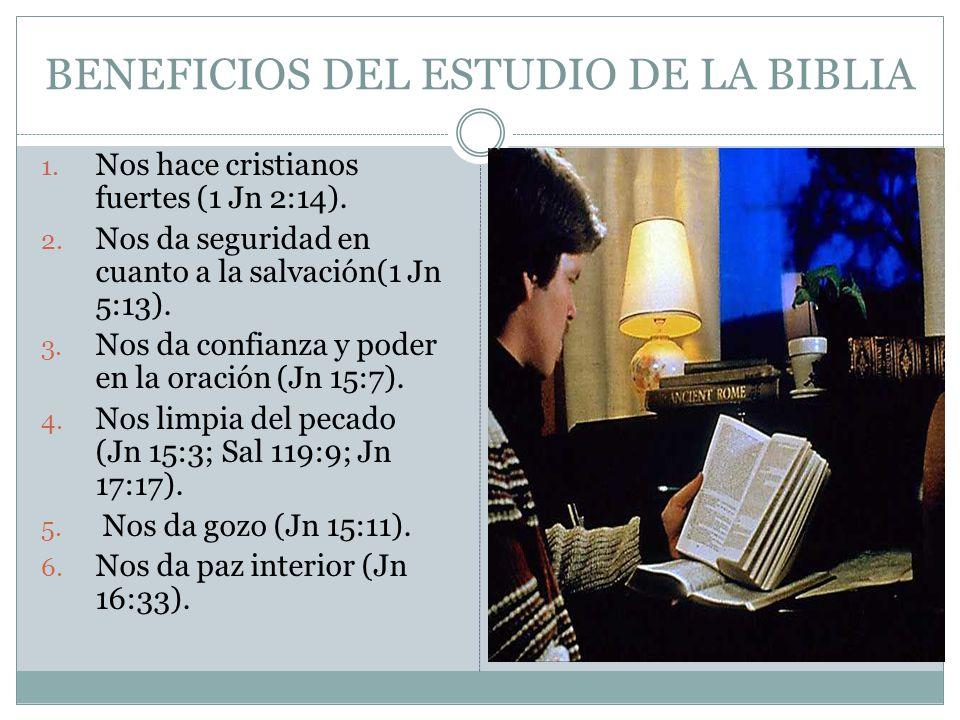 BENEFICIOS DEL ESTUDIO DE LA BIBLIA