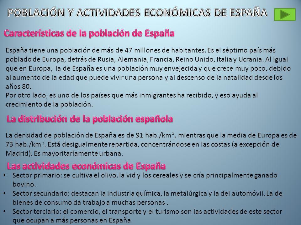 POBLACIÓN Y ACTIVIDADES ECONÓMICAS DE ESPAÑA