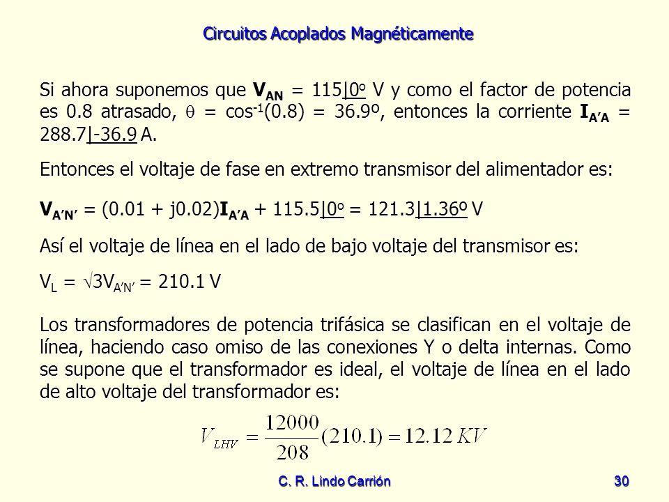 Entonces el voltaje de fase en extremo transmisor del alimentador es: