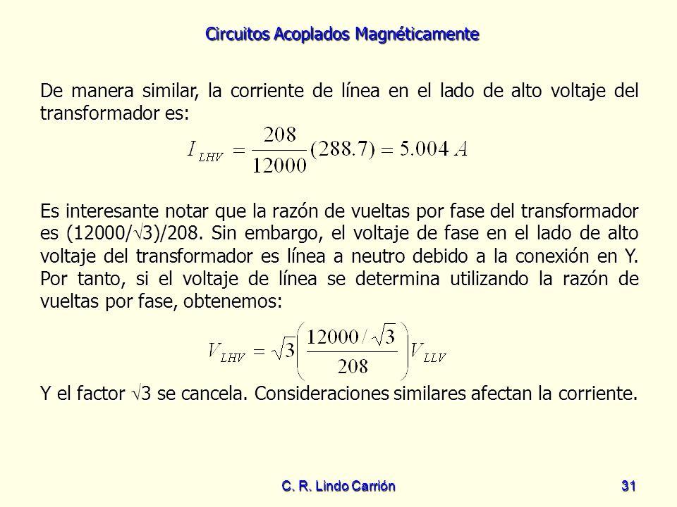 De manera similar, la corriente de línea en el lado de alto voltaje del transformador es: