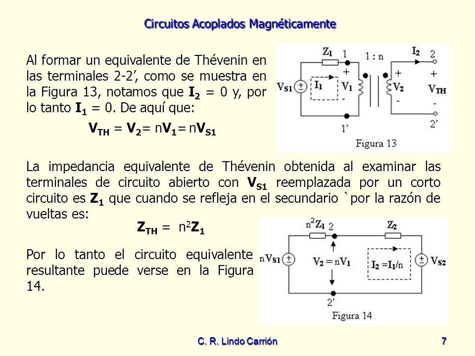 Al formar un equivalente de Thévenin en las terminales 2-2', como se muestra en la Figura 13, notamos que I2 = 0 y, por lo tanto I1 = 0. De aquí que: