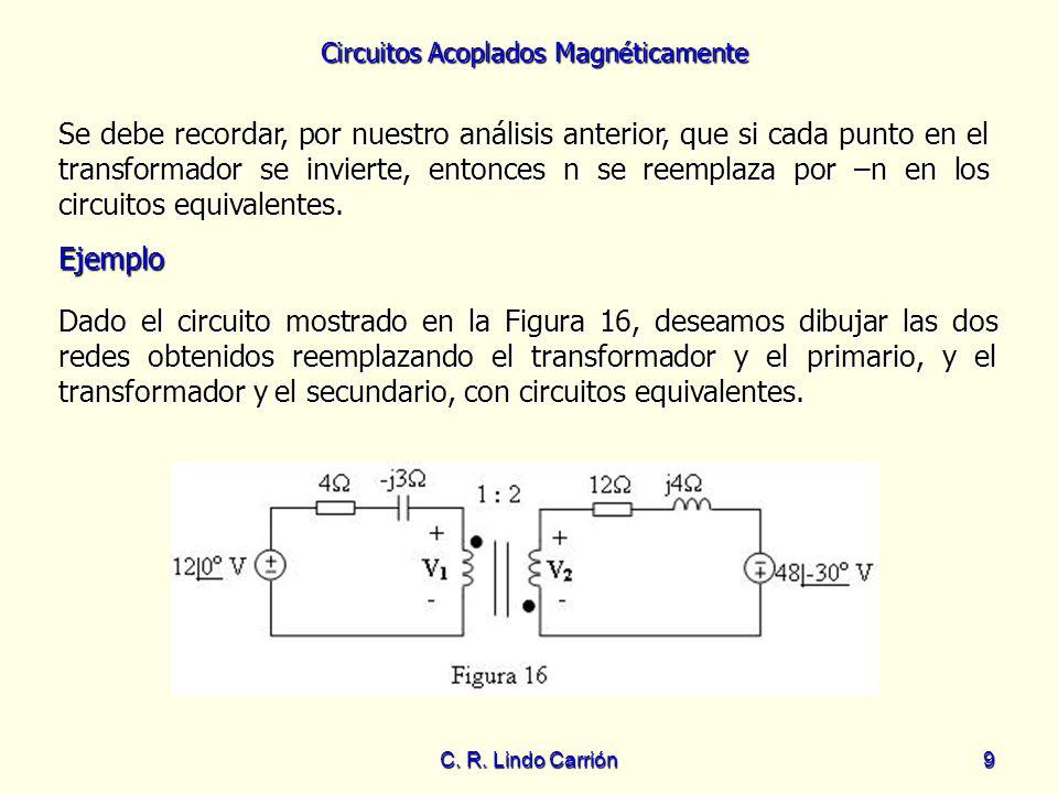 Se debe recordar, por nuestro análisis anterior, que si cada punto en el transformador se invierte, entonces n se reemplaza por –n en los circuitos equivalentes.