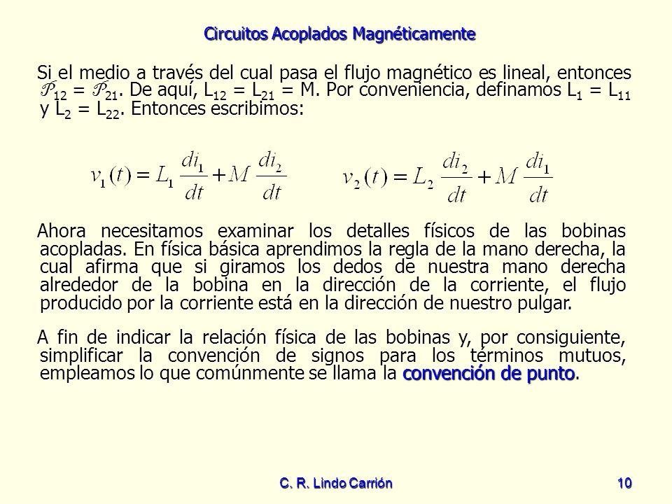 Si el medio a través del cual pasa el flujo magnético es lineal, entonces P12 = P21. De aquí, L12 = L21 = M. Por conveniencia, definamos L1 = L11 y L2 = L22. Entonces escribimos: