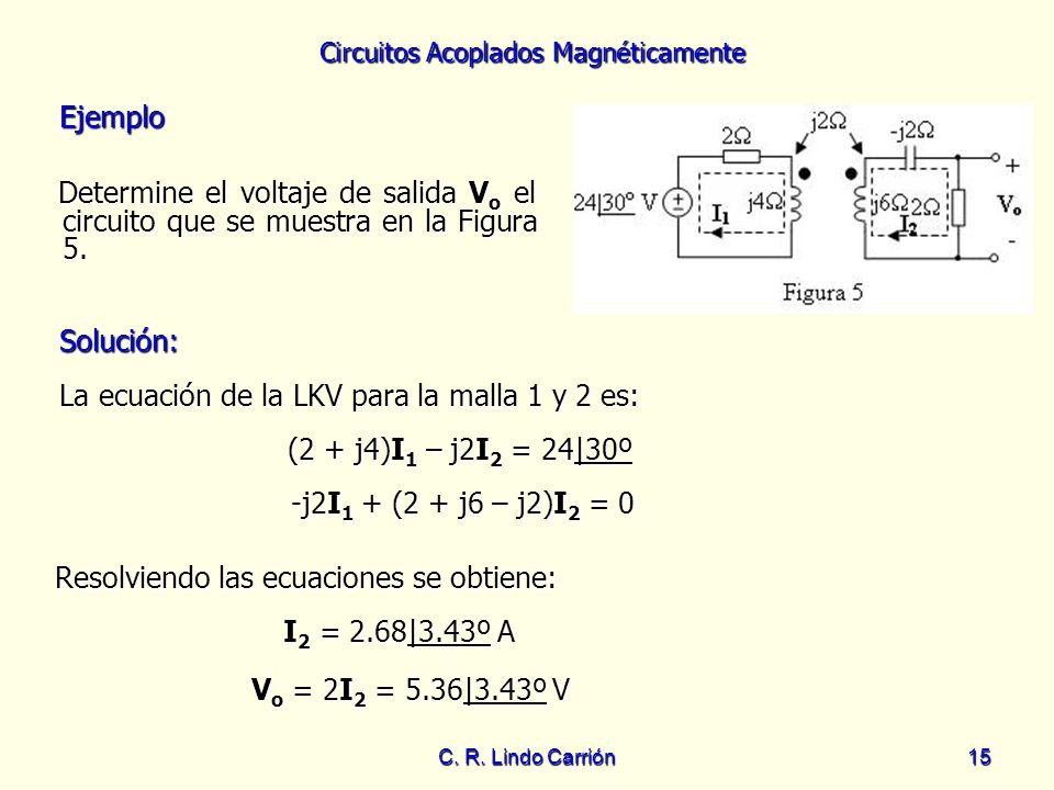 La ecuación de la LKV para la malla 1 y 2 es: