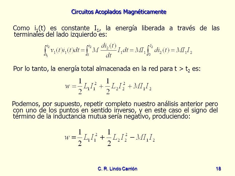 Por lo tanto, la energía total almacenada en la red para t > t2 es: