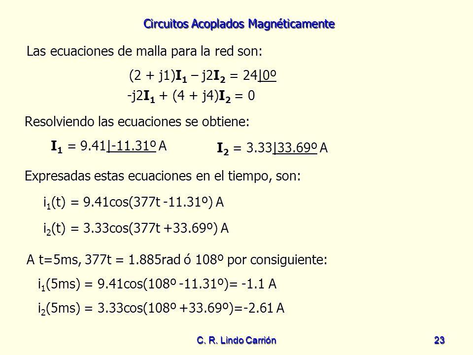 Las ecuaciones de malla para la red son: