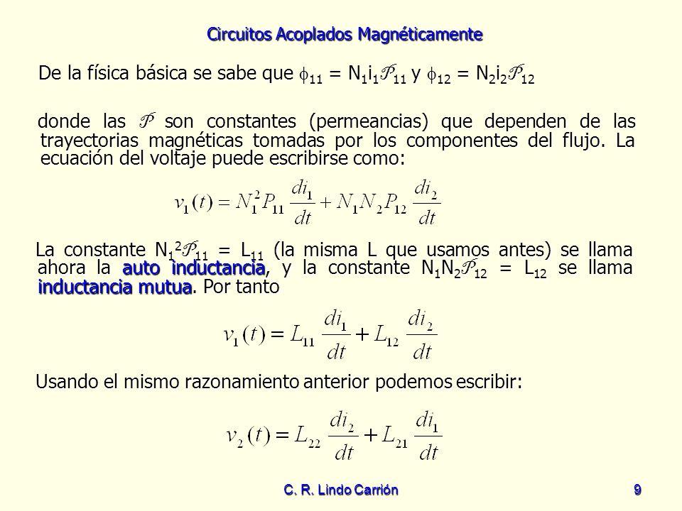 De la física básica se sabe que 11 = N1i1P11 y 12 = N2i2P12