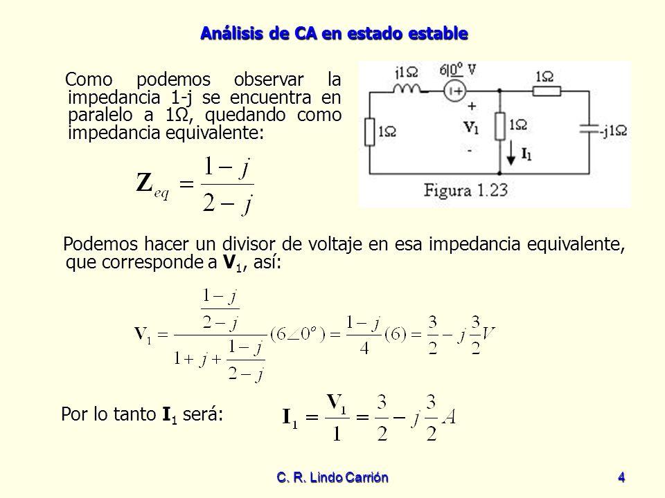 Como podemos observar la impedancia 1-j se encuentra en paralelo a 1Ω, quedando como impedancia equivalente: