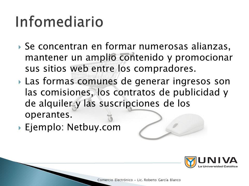 Infomediario Se concentran en formar numerosas alianzas, mantener un amplio contenido y promocionar sus sitios web entre los compradores.