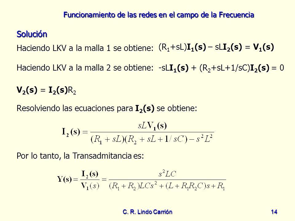Haciendo LKV a la malla 1 se obtiene: (R1+sL)I1(s) – sLI2(s) = V1(s)