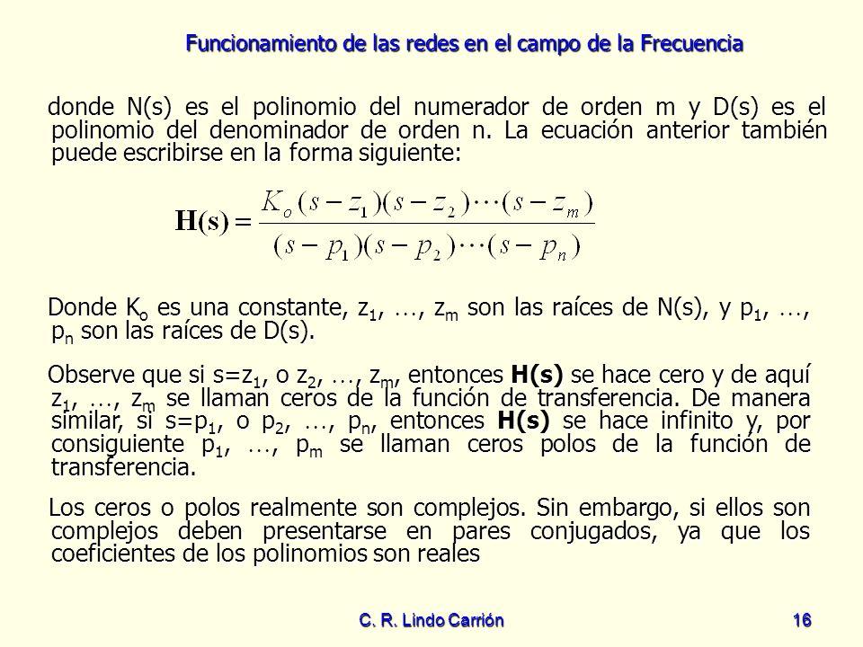 donde N(s) es el polinomio del numerador de orden m y D(s) es el polinomio del denominador de orden n. La ecuación anterior también puede escribirse en la forma siguiente: