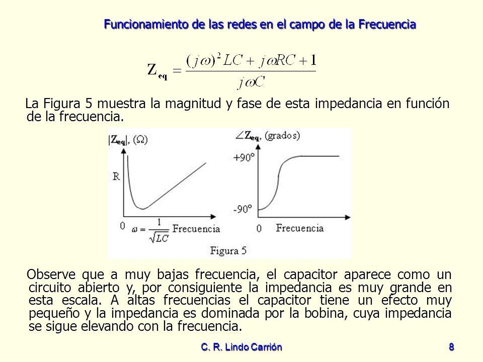 La Figura 5 muestra la magnitud y fase de esta impedancia en función de la frecuencia.