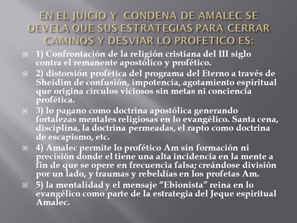 EN EL JUICIO Y CONDENA DE AMALEC SE DEVELA QUE SUS ESTRATEGIAS PARA CERRAR CAMINOS Y DESVIAR LO PROFETICO ES: