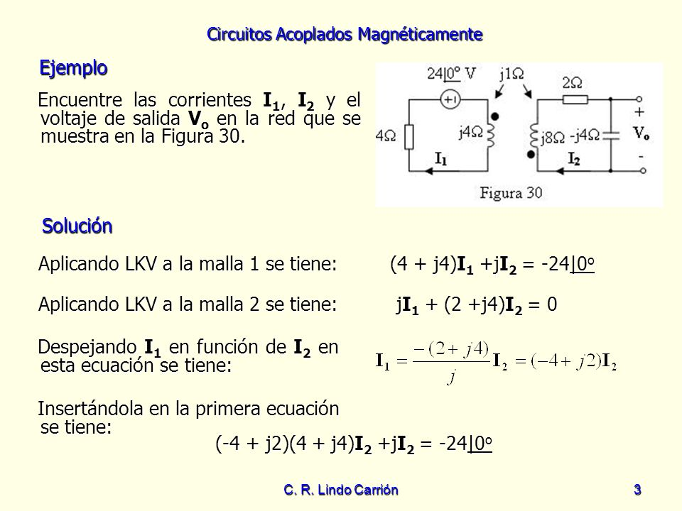 Aplicando LKV a la malla 1 se tiene: (4 + j4)I1 +jI2 = -24|0o