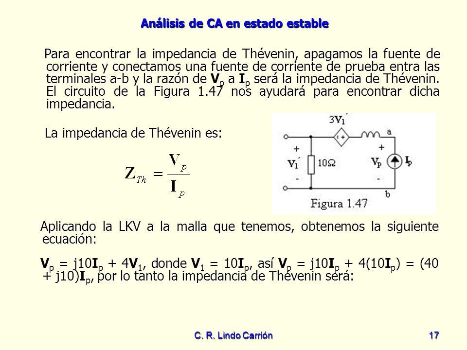 La impedancia de Thévenin es:
